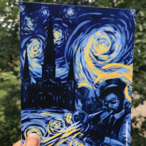 New Orleans second line painted in Starry Night Style